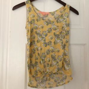 Yellow daisy crop top that ties in the front.